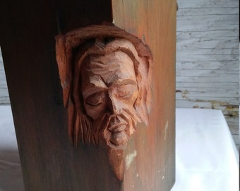 Vintage 1976 Likeness of Jesus Christ Carved into a Block of Wood by Amsterdam, NY Artist/Sculptor Matthew Orante
