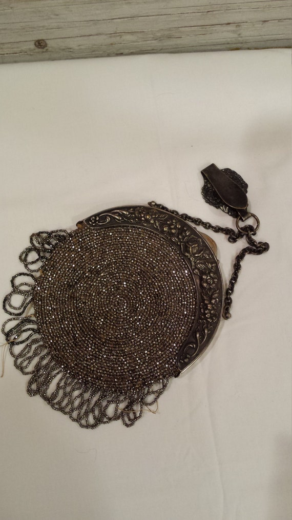 Vintage Ladies 1890's Chatelaine Silver Faceted Beaded over leather Purse.  Great Condition.  Makes a nice gift.