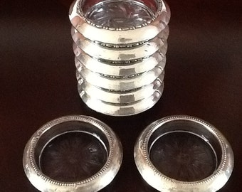 Sterling Silver and Glass Coasters - Amston and B-1 Sterling