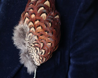 Brooch / pin Mikona pheasant feathers