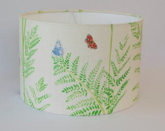Green Butterfly Meadow 30cm Drum Lampshade|100% Linen Fabric|Digitally Printed|Ceiling Lighting|Natural|Living Room|Nursery