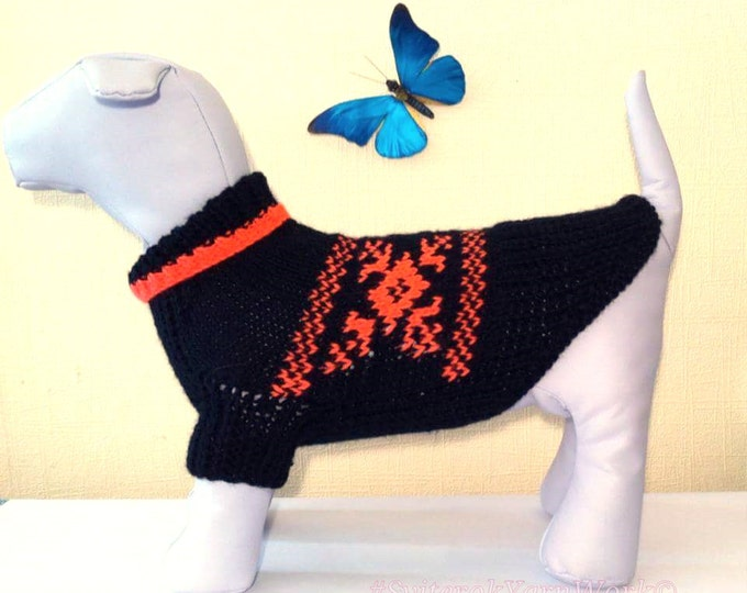 Knit Handmade Pattern Sweater For Dog. Pet Dress. Knit Dog Clothing. Sweater for Dog. Dog Clothes. Pattern Sweater. Size M