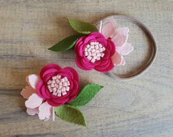 PINK! -  Single bloom / single flower / felt flower headband / nylon headband / flower hairclip