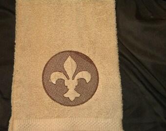 Embossed Fleur De Lis Hand Towel
