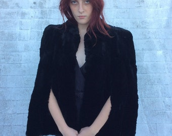 Vintage Black Fur Cape, OS
