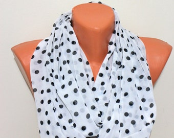 Black Polka Dots Scarf Infinity Scarf White Scarf  Print Scarf Women Fashion Accessories Gifts for Her