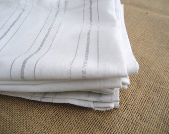 Cotton Fabric Napkins - Set of 6 - Hand Made -  Dinner/Lunch Napkins - White/Silver