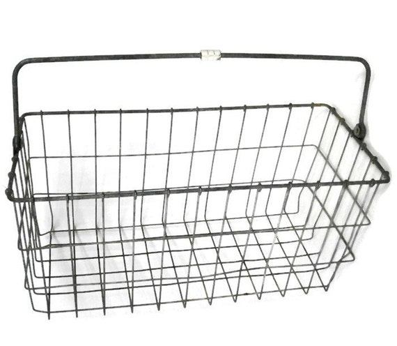 vintage rectangular wire basket with handle  large metal