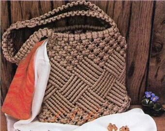 Macrame Shoulder Bag ... Macrame Handbag and Key Ring ... Ladies Accessories ... Vintage PDF Pattern ... Ladies Purse ... Digital Download