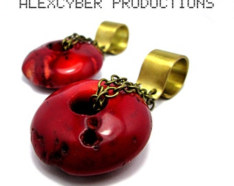 Brass & coral donuts earweight
