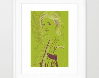 Girl green illustration