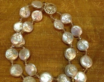 "Soft & Pretty Collection - 8.5"" double strand fresh water coin shaped pearl and crystal bracelet - FREE SHIPPING!"