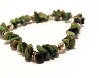 Sterling Silver and Turquoise/Green Beaded Bracelet