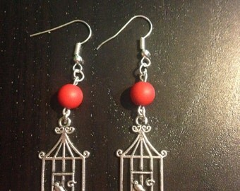 a bird cage earrings