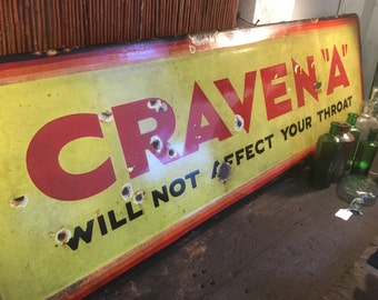 Vintage craven 'a' enamel sign.