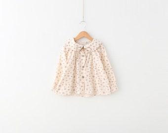 Girls Floral Print Peter Pan Collar Blouse Top 100% cotton size 2T - 3T