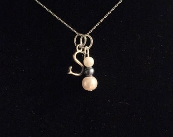 Fresh water pearl and initial charm
