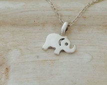 "Solid Silver Lucky Elephant Necklace Pendant Handmade 16"" chain"