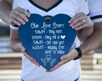 Customize YOUR Love Story! - Personalized Gift - Engagement Photo Prop - Photo Prop - Anniversary Gift - Wedding Gift