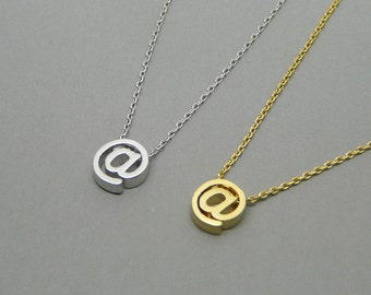 At symbol @ necklace, Twitter internet necklace, Delicate necklace, Symbol jewelry, Email charm, Original gift