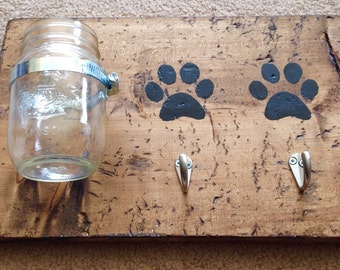 Dog treat jar with leash hanger