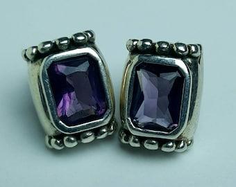 Vintage Amethyst Sterling Silver Earrings