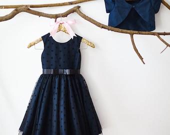 Navy Blue Taffeta Jacket Polka Dots Tulle Flower Girl Dress Junior Bridesmaid Wedding Party  Dress M003