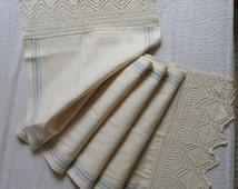 """Antique Linen Lace Towel, vintage linen towel, Soviet linen kitchen towel, old Russian lace towel, rustic linen towel, 57"""" x 17"""""""
