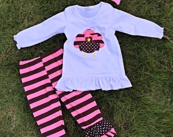 Thanksgiving Pink Brown Striped Turkey  Scarf Outfit For Girls Kids Clothes Holiday Clothing Buy Up A Size For Next Year!