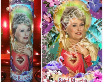 Blanche from the  Golden Girls - Rue McClanahan - Tropical Frame Celebrity Prayer Candle optional bling