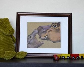 Hippopotamus Mother and Baby