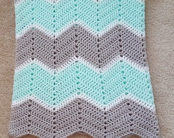 Gender Neutral Light Gray and Mint Green Chevron Baby Blanket