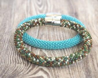 SET of 2 Beaded Crochet Bracelets -Beadwork Bracelets - Rope Bracelets - Crochet bracelets - Sead bead bracelets  - Beaded bangles