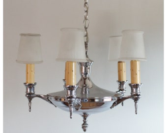 A2979 Antique Circa 1920's Chrome 5 Candle Hanging Ceiling Light Chandelier with pleated frosted glass clip on shades