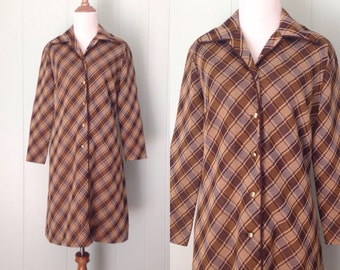 1960s Nelly Don Dress | 60s Brown Plaid Dress | Vintage Shift Dress