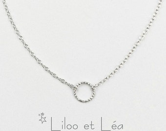 Small circle necklace, sterling silver 925