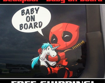 Deadpool Baby On Board, Deadpool Bumper Sticker, Baby on Board Sign,