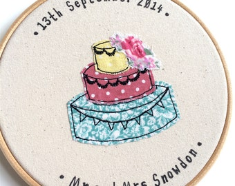 Wedding cake personalised embroidery hoop framed wall art picture gift, stitched fabric applique. Cotton 2nd Anniversary textile art