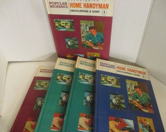 Popular Mechanics Illustrated Home Handyman Encyclopedia , 5 Volumes Only,  1961.  Household Maintenance, Repair, Building projects