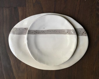 Tray and handmade ceramic dish