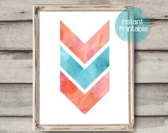 Chevron Modern Art Printable Coral & Aqua Chevron Printable Wall Decor Baby Nursery Teen Room Office Art Printable 3 Chevrons Minimal Art