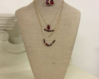 Tiered Necklace and Earrings Set