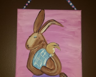 Mother and Baby Bunny Canvas