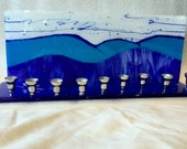 Fused glass menorah M6