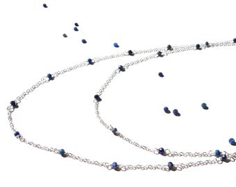 Minimal, Lapis Lazuli, Sterling Silver Necklace, Long Necklace, Multi Strand Necklace, Blue Gemstone, Lapis Lazuli Necklace, Minimal Jewelry