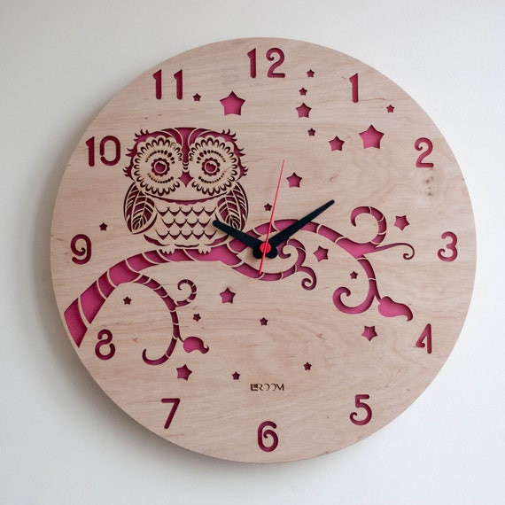 Wall Clock Owl Design : Modern wall clock owl large wooden by