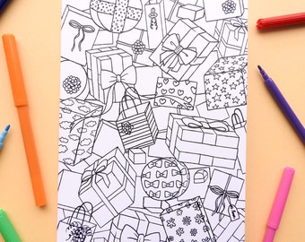 Colouring card Gifts / Do-it-yourself DIY / Illustration to colour in / Creative blank A5 card