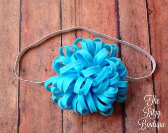 Blue Felt Pom Flower Headband