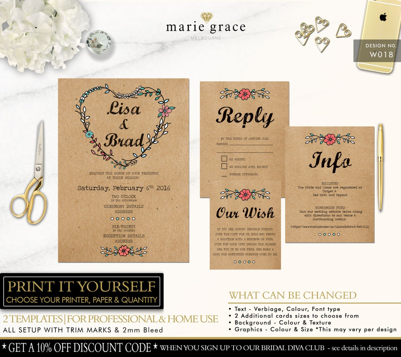 Country Wedding Invitation Templates: Wedding Invitation Templates Rustic Wedding Invitations