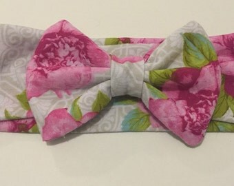 Floral Knit Headband with Bow